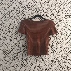 Dark red stripped t- shirt, tight fitted